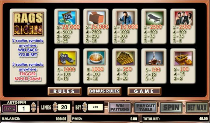 Rags to Riches 20 line screenshot