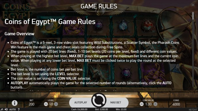 Coins of Egypt by No Deposit Casino Guide