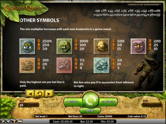 No Deposit Casino Guide image of Gonzo's Quest