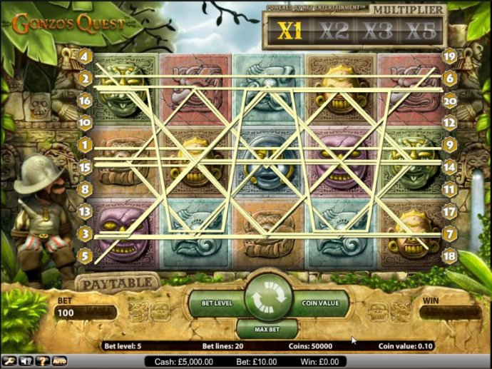 Gonzo's Quest slot game paylines by No Deposit Casino Guide