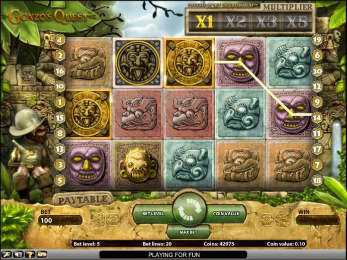 No Deposit Casino Guide - Gonzo's Quest slot game bonus round triggered