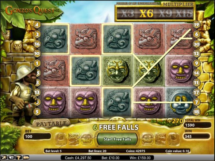 Gonzo's Quest slot game free spins feature 270 coin jackpot by No Deposit Casino Guide