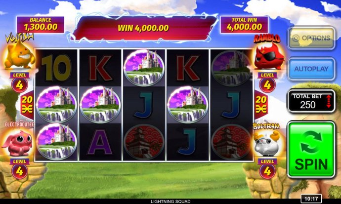 Castle symbols form multiple winning paylines triggering a 4,000.00 jackpot win - No Deposit Casino Guide