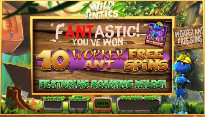 10 Worker Ant Free Spins Awarded featuring roaming wilds. by No Deposit Casino Guide