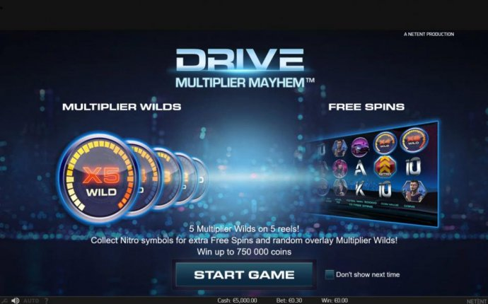 features include multiplier wilds and free spins. 5 Multiplier Wilds on 5 reels! Collect Nitro symbols for extra free spins and random overlay multiplier wilds! Win up to 750,000 coins. by No Deposit Casino Guide