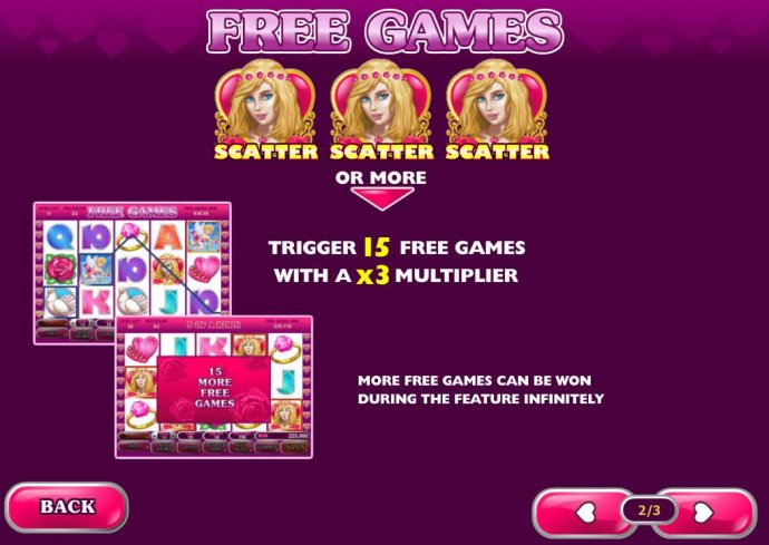 Three or more scatter symbols trigger 15 free games with a x3 multiplier. - No Deposit Casino Guide