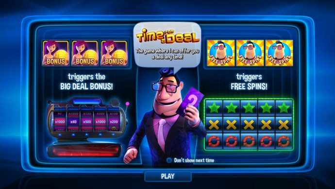 Three bonus symbols triggers the Big Deal Bonus Game. Free spins triggered by 3 free spins icons. by No Deposit Casino Guide