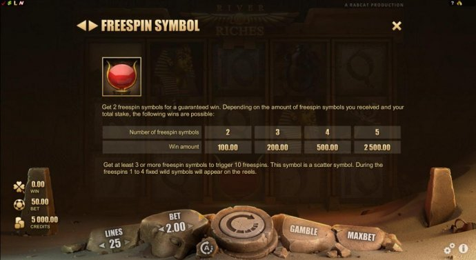 Freespin Symbol is the sun disk and cow horns. Get 2 freespin symbols for a guranteed win. - No Deposit Casino Guide