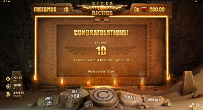 10 free spins with 4 fixed wild symbols have been awarded. by No Deposit Casino Guide
