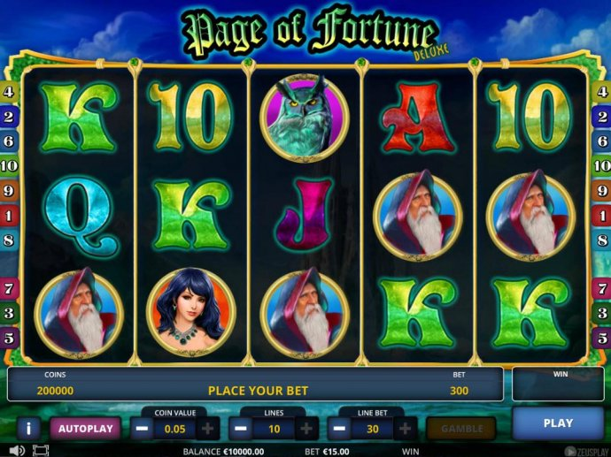 Main game board featuring five reels and 10 paylines with a $225,000 max payout. - No Deposit Casino Guide