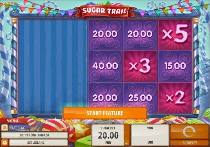 Sugar Cash Bonus Feature game Board. by No Deposit Casino Guide