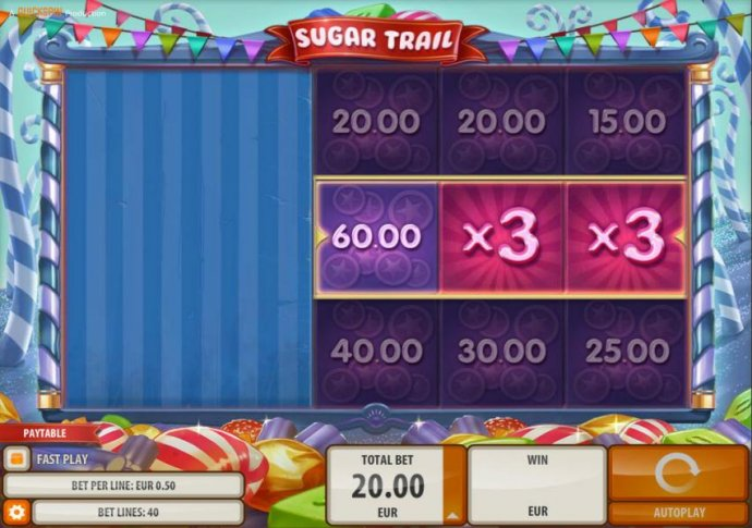 No Deposit Casino Guide - Sugar cash Bonus reels stopped on a 60.00 cash amount and two 3x multiliers.