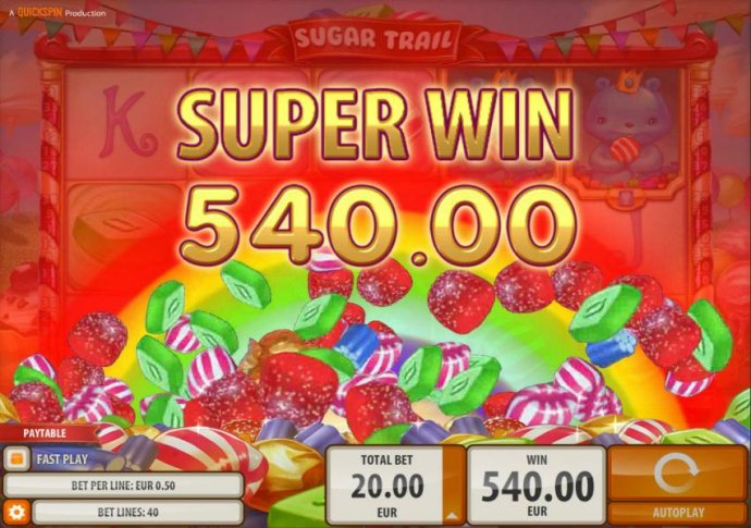 No Deposit Casino Guide - A 540.00 Super Win awarded by the Sugar cash Bonus feature.