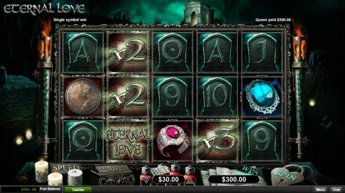 Wild multiplers lead to multiple winning combinations and a 300.00 big win. - No Deposit Casino Guide