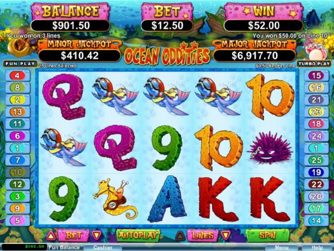 Four of a kind triggers a $50 line payout by No Deposit Casino Guide