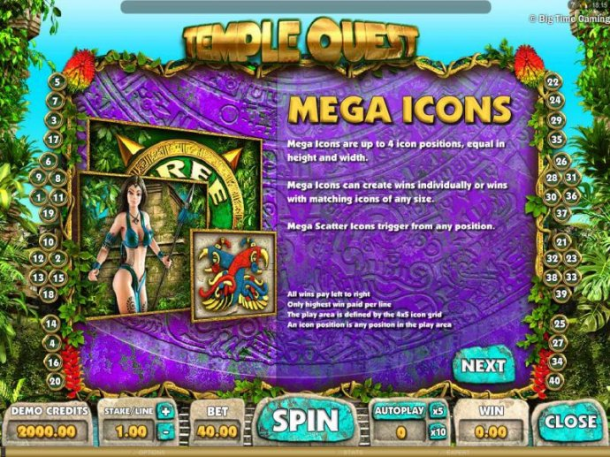 No Deposit Casino Guide - Mega icons are up to 4 icon positions, equal in height and width