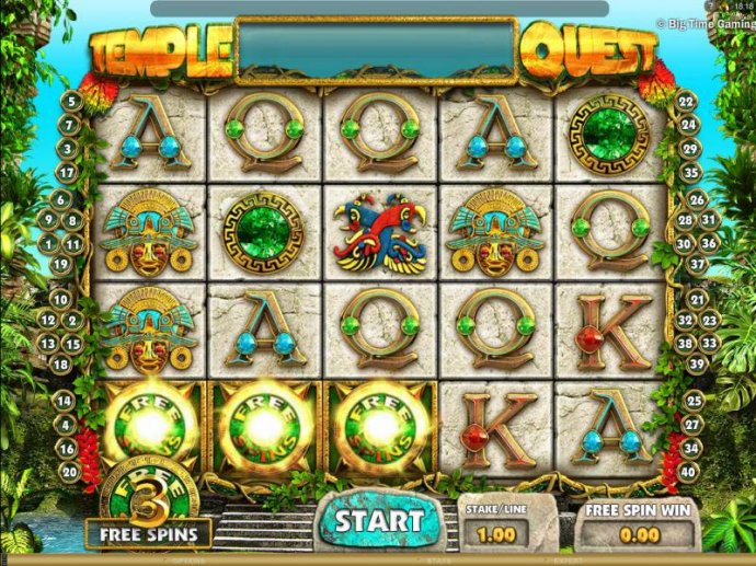 three free spins icons triggers the free spins feature by No Deposit Casino Guide