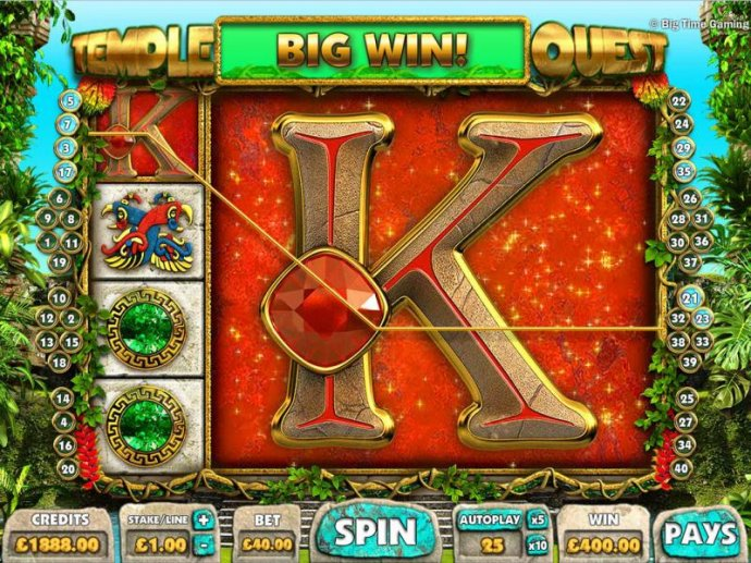No Deposit Casino Guide - Mega icon triggers multiple winning paylines for a $400 big win.