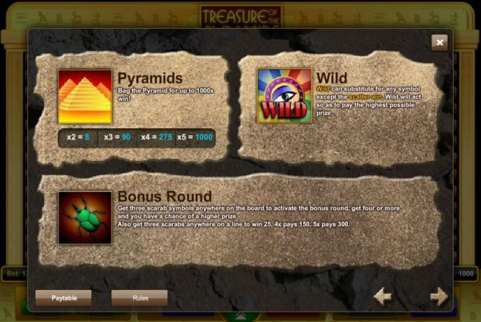 Pyramids, Wild and Scatter symbols game rules - No Deposit Casino Guide