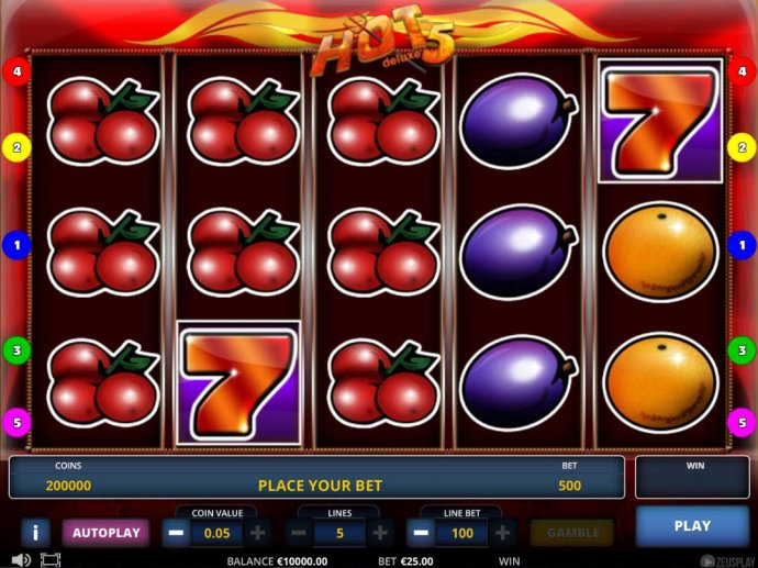 No Deposit Casino Guide - Main game board featuring five reels and 5 paylines with a $2,500,000 max payout.