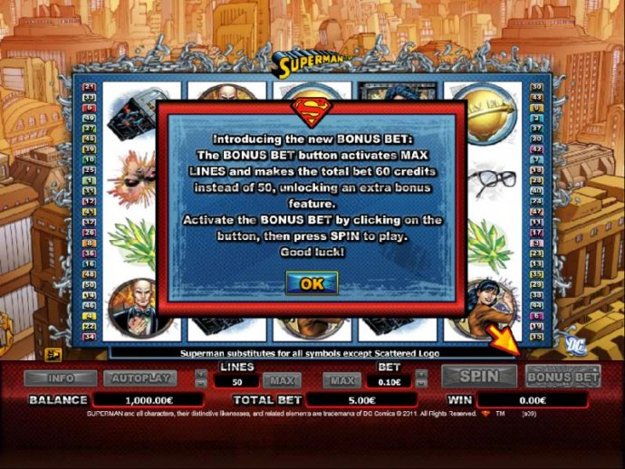 Introducing the new BONUS BET: The BONUS BET button activates MAX LINES and makes the total bet 60 credits instead of 50, unlocking an extra bonus feature. by No Deposit Casino Guide