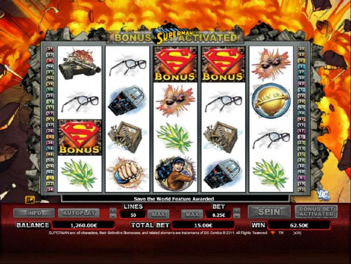 three bonus symbols trigger save the world bonus feature by No Deposit Casino Guide
