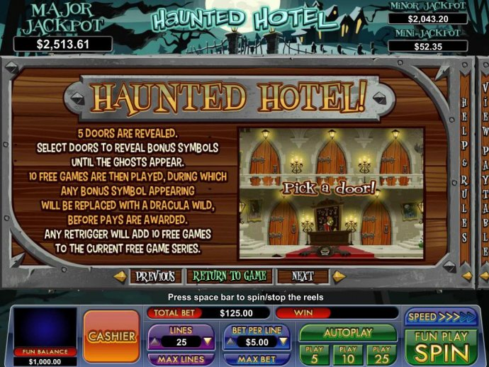 No Deposit Casino Guide image of Haunted Hotel