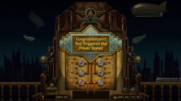 The Power Bonus game board. Click on the colored buttons to reveal a prize. Find 3 advance to go to the next level. Find the Collect and the bonus feature ends. - No Deposit Casino Guide