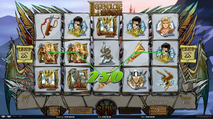 No Deposit Casino Guide - Multiple winning paylines triggers a 310 coin big win!