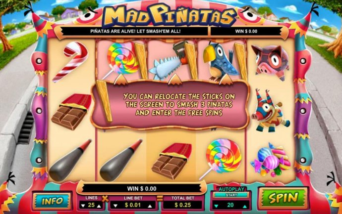 you can relocate the sticks on the screen to smash 3 pinatas and enter the free spins - No Deposit Casino Guide