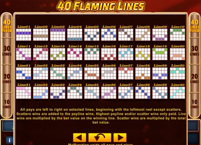 Payline Diagrams 1-40. All pays are left to right on selected lines, beginning with the leftmost reels except scatters. - No Deposit Casino Guide