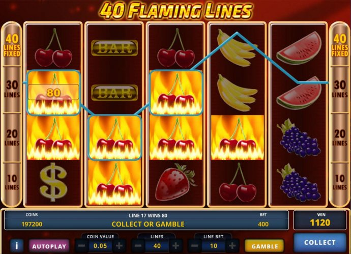 40 Flaming Lines by No Deposit Casino Guide