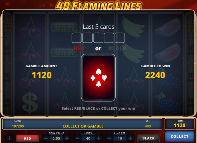No Deposit Casino Guide image of 40 Flaming Lines