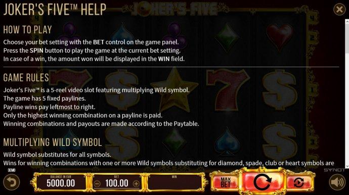 Joker's Five by No Deposit Casino Guide