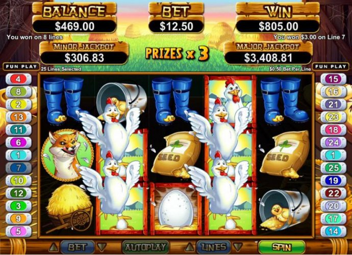 multiple winning paylines tiggers an $805 big win during free games feature - No Deposit Casino Guide