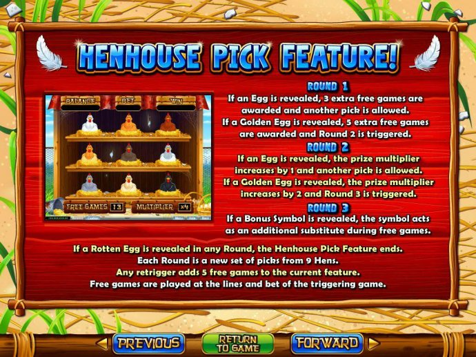 Henhouse Pick Feature Rules by No Deposit Casino Guide