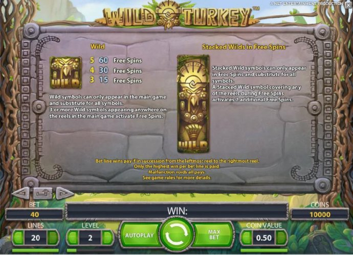 wild symbol rules and stacked wilds in free spins mode rules by No Deposit Casino Guide