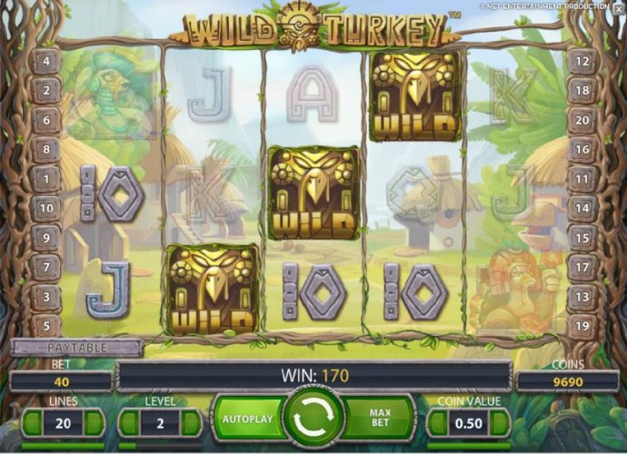 three wild symbols triggers a 170 coin jackpot and the free spins feature by No Deposit Casino Guide