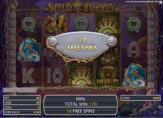 stacked wild symbols triggers 2 free spins during free spins feature by No Deposit Casino Guide