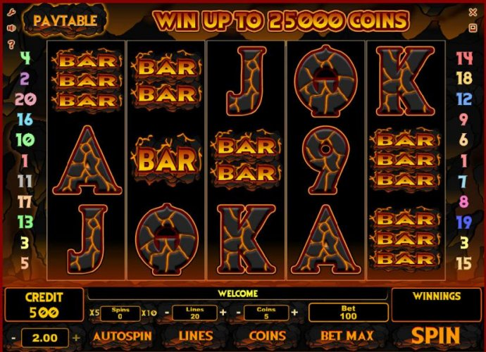 No Deposit Casino Guide - main game board featuring five reels and 20 paylines