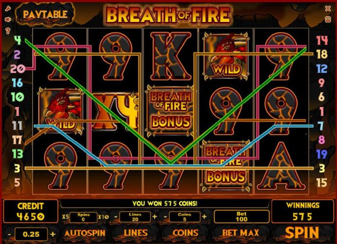 multiple winning paylines triggers a 575 coin jackpot by No Deposit Casino Guide