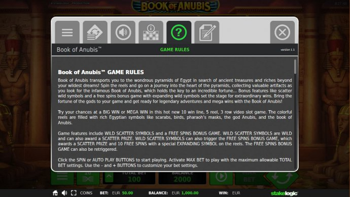 Book of Anubis by No Deposit Casino Guide