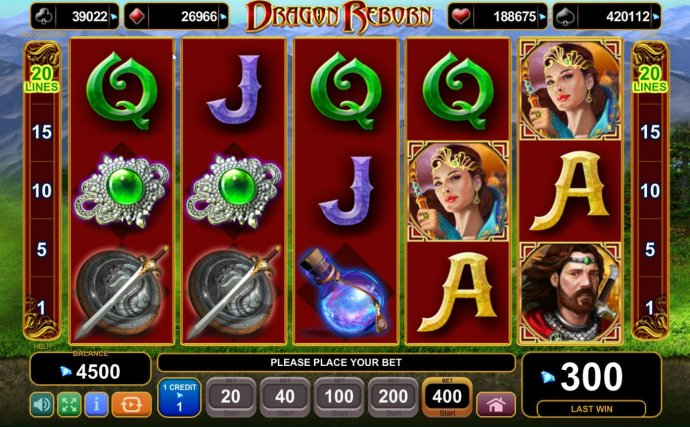 No Deposit Casino Guide - Main game board featuring five reels and 20 paylines with a progressive jackpot max payout.