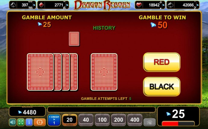 Gamble Feature - To gamble any win press Gamble then select Red or Black. - No Deposit Casino Guide