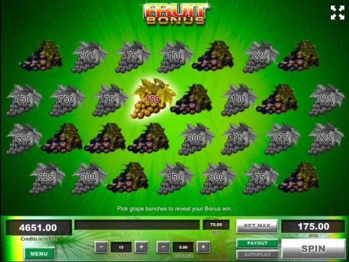 Bonus fruit game play ends when you reveal 3 rotten bunches of grapes. - No Deposit Casino Guide