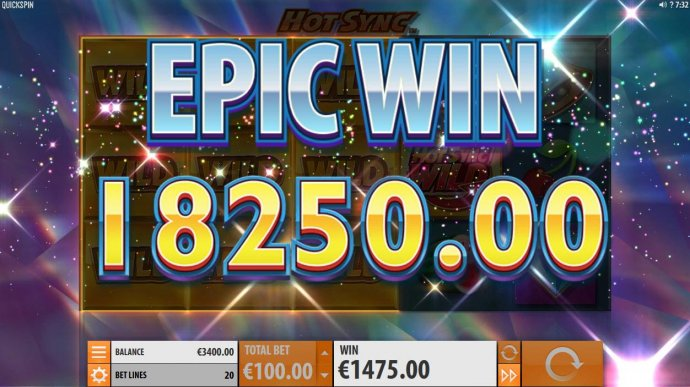 No Deposit Casino Guide - An 18,250.00 Epic Win triggered by multiple winning paylines during the Hot Sync Wild Respin feature.