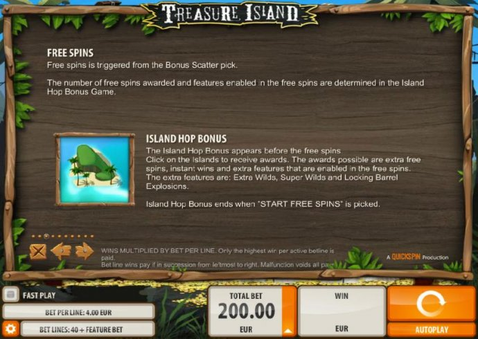 Free spins and Island Hop Bonus Feature how to play and rules by No Deposit Casino Guide