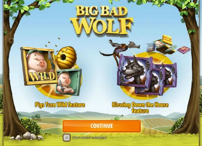 Game launch splash screen - Pigs Turn Wild feature - Blowing Down the House feature. by No Deposit Casino Guide
