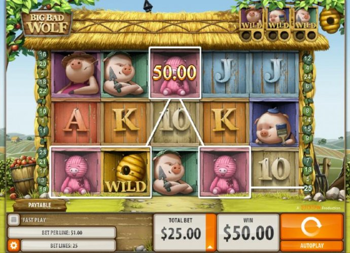 Four of a kind triggers a $50 line payout. by No Deposit Casino Guide