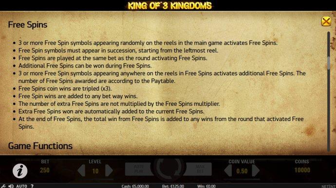 No Deposit Casino Guide image of King of 3 Kingdoms